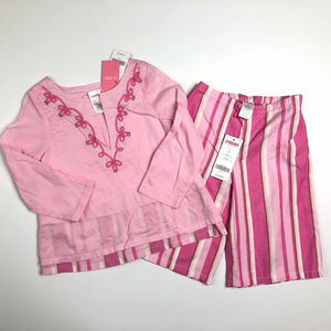 Gymboree 4 Cabana Shirt Crop Pants Pink Caylpso